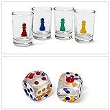 Relaxdays Trinkspiel Drinking Ludo Würfelspiel für 2 – 4 Spieler B x T: 30 x 30 cm mit 16 Schnapsgläsern & 2 Würfeln witziges Partyspiel für Feier-Spaß Gesellschaftsspiel als Würfel-Trinkspiel - 6