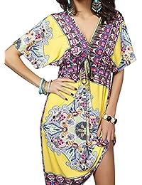 Vestidos de Verano Mujer Tallas Grandes Ropa Boho Chic Estampado Floral Étnico Vestido de Playa Fiesta