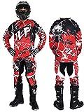 JLP Racing - Traje de motocross para niño de 7–8años, para quad, bici de montaña, BMX, MTB, pantalón, guantes y camiseta, color rojo, talla 24US/L