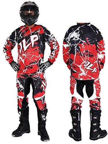 JLP Racing Tuta per bambini di 7-8 anni, per motocross, quad, MTB, BMX - pantaloni, maglia e guanti, colore: rosso, taglia US 24/L