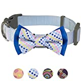 Blueberry Pet Polka Dots Handmade Detachable Bow Tie Dog Collar in Neat Pastel Blue, Small, Neck 30cm-40cm, Adjustable Collars for Puppies & Small Dogs