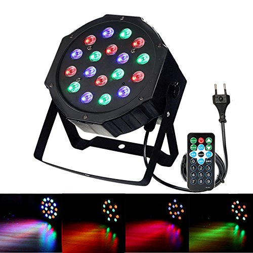 4 Light Post Oben (DJ Lichteffekte,SOLMORE Disco Licht 18W 18LED LED PAR Licht DJ Licht mit Fernbedienung für KTV Disco Musik Party RGB)