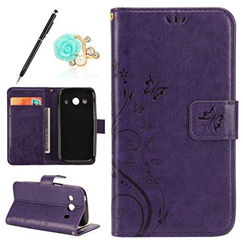 Uposao Kompatibel mit Samsung Galaxy Ace 4 G357 Handytasche Handy Hüllen Flip Case Cover Schmetterling Schutzhülle Brieftasche Leder Tasche Leder Hülle Klapphülle Magnetverschluss,Dunkellila