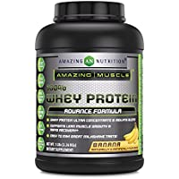 Amazing Muscle 100% Whey Protein Powder - 5 Lbs - Delicious Banana Flavor