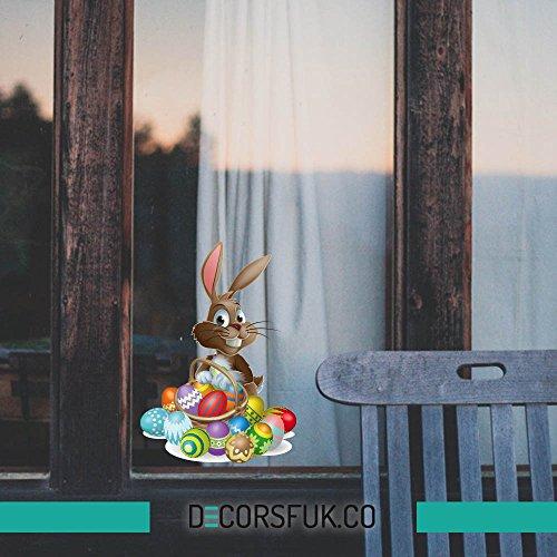 Adesivi pasquali, motivo: coniglio pasquale con uova di pasqua, per finestre, 30 x 21 cm