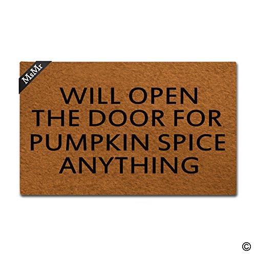 MsMr Funny Fußmatte Eingang Fußmatte Indoor Outdoor Dekorative Fußmatte Badteppich mit Wird offen Tür für Pumpkin Spice Nichts Design 76,2x 45,7cm