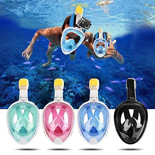 creatspaceDSF Máscara de Snorkel de Cara Completa Seaview 180 ° Antivaho Antigoteo Tubo de Snorkel más Largo Máscara de Snorkel Universal para GoPro Color: Azul