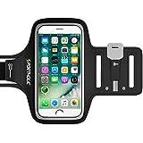 PORTHOLIC® Brazalete deportivo Para Deportes -GARANTÍA DE POR VIDA- Con soporte para llaves, cables y tarjetas para iPhone 7/6,Galaxy S6/S5,iPhone 5S/5C/SE Huawei, Bq x5, HTC, LG hasta 5.1 pulgadas (negro)