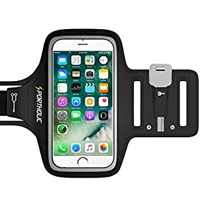PORTHOLIC® Sweat Resistant Sports Armband- For iPhone 7/6/6S/5/5C/5S,Galaxy S6/S5/S4 Android Up To 5.1 Inches LIFETIME WARRANTY- With Key Holder,Cable Locker,Cards Holder (Black+)