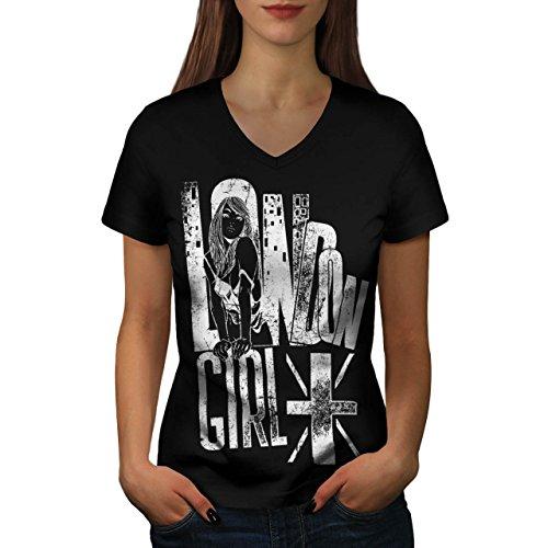 Mädchen Slogan Flagge London Großbritannien GB Damen S V-Ausschnitt T-shirt | Wellcoda