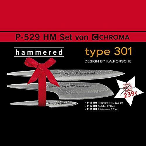 Chroma Messer Set 3tlg Type 301 Hammerschlag P-529 HM