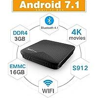 MECOOL M8S PRO TV Box 3GB DDR4 RAM 16GB eMMC Amlogic Octa Core S912 Android 7.1 4K Movies Smart TV Media Player HDR10 802.11AC Dual Band WIFI LAN Bluetooth H.265