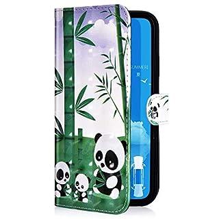 Uposao Kompatibel mit Samsung Galaxy A70 Handyhülle Leder Tasche Bling Glitzer Luxus 3D Effekt Glänzend Muster Hülle Flip Wallet Case Brieftasche Klapphülle Ständer Kartenfach,Panda