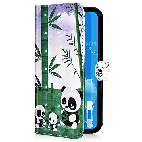 Uposao Kompatibel mit iPhone 11 Pro Max Handyhülle Leder Tasche Bling Glitzer Luxus 3D Effekt Glänzend Muster Hülle Flip Wallet Case Brieftasche Klapphülle Ständer Kartenfach,Panda