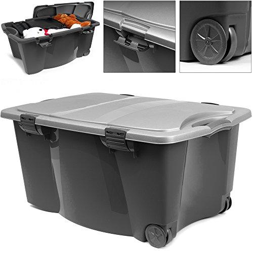 Deuba Caisse en Plastique Noir/Gris 170 litres 2 poignées 4 fermoirs Rangement Maison