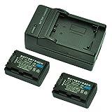 MP power ® 2X Remplacement Batterie FH50 FH-50 FH-40 FH40 H-TYPE 1080mah 7,4V + chargeur pour Sony DSLR A230, A290, A330, A380, A390, Cybershot DSC-HX1 DSC-HX100V DSC-HX200V caméscope Handycam HDR Series HDR-XR105, XR200...