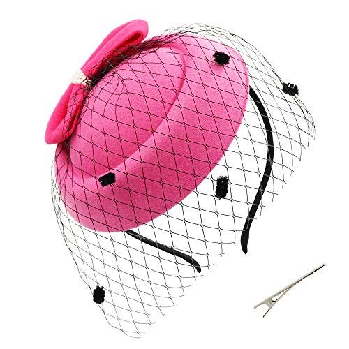 Umeepar Damen Bowknot Pillbox Fascinator Hut Hochzeit Tea Party Hüte mit Schleier Stirnband Clip (Rose)
