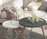 YK Teetisch, Runder Couchtisch Im Wohnzimmer, Kleiner Beistelltisch Im Schlafzimmer, Runder Mini-Tisch, Kombinationsset,Grau und Weiß,70 cm + 50 cm