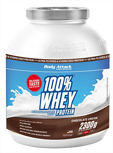 Optimale 100% Whey Protein (Body Attack 100% Whey Protein, Schokolade, 1er Pack (1x 2300g))