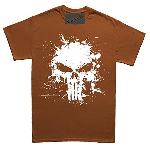 Renowned Death Skull Splatter Effect Paint Herren T Shirt Braun
