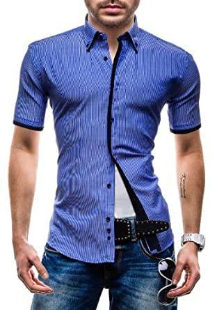 BOLF - Chemise casual - à manches courtes - MODELY YCT - Homme - 3XL Bleu [2B2]