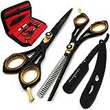 Saaqaans SQKIT Set Forbici Parrucchiere Professionali - Acciaio Inossidabile di alta Qualità 6 Pollici Cesoie Parrucchiere - Perfetto per Tagliare i Capelli, Tagliare la Barba e i Baffi
