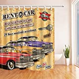 EdCott Alquiler de Autos Desde 1963 Cortina de baño Tela de poliéster Impermeable Cortina de Ducha 71X71 en Cortinas de Ducha Ganchos incluidos Rojo