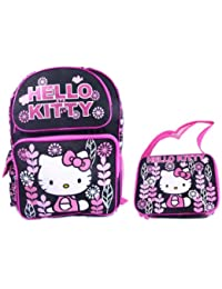"Sanrio Hello Kitty 14"" Medium School Backpack 10"" Lunc Bag Set - Black"