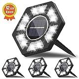Fenvella Luci Solari Esterno 12 LEDs, Lampada Led Solare Giardino IP67 Impermeabile, Faretti Sepolta per Prato Scala Paesaggio Strade, Bianco (4 Pezzi) [Efficienza Energetica A+++]