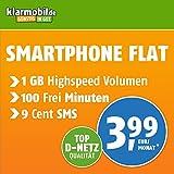 Klarmobil Smartphone Flat M mit 1 GB Internet Flat max. 21,6 MBit/s, 100 Frei-Minuten in alle deutschen Netze, EU-Roaming, 24 Monate Laufzeit, monatlich nur 3,99 EUR, Triple-Sim-Karten
