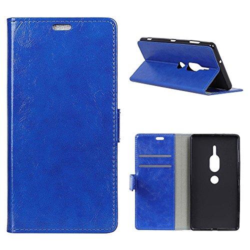 """MOONCASE Sony Xperia XZ2 Premium Hülle,PU Leder Flip Karten Slot Wallet Brieftasche Case Magnetische Ständer Weiche TPU Innerer Schutz für Sony Xperia XZ2 Premium 5.8"""" Blau"""