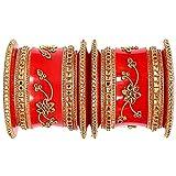 Rajasthani Rajputi Handcrafted Chuda Set Handmade Gold Plated Plastic Seap Red Bridel Bangles    Women & Girls