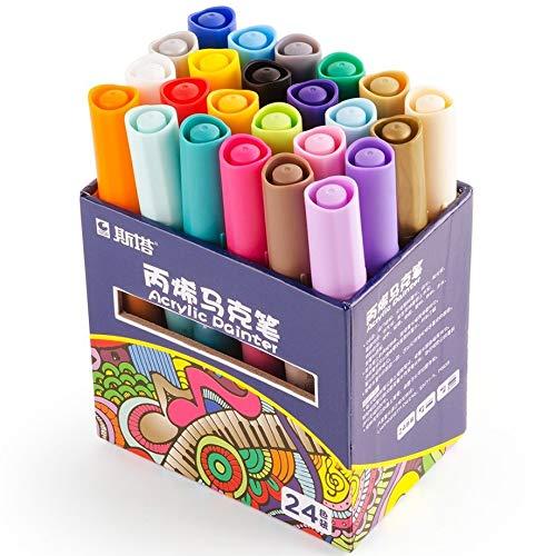 Steine bemalen Stifte Set, 24 Farben Acrylstifte wasserfest permanent Paint Markers mittlere Strichstärke Acrylfarbe Filzstift Folienstift für Holz DIY-Handwerk Glas Metall Keramik Papier Stoff