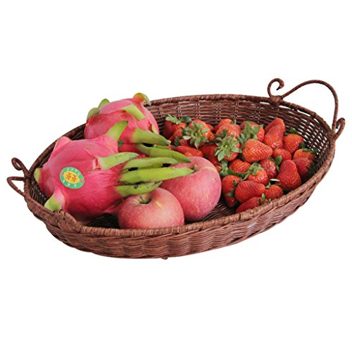 Fruits plaque rotin bambou produits collations fruits sec fruits bonbons fruits assiette ( couleur : Marron )