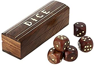 Shalinindia Indian Game Wooden Dice Set in a Box Brass Inlay Art (5.25x1.5-inch)