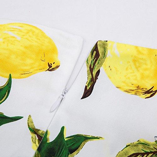 GRACE KARIN Robe Crayon Rétro Vintage Florale à Mancherons au Dessous Des Genoux Multicolore