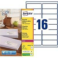 Avery QuickPEEL Color blanco 1600pieza(s) - Etiqueta autoadhesiva (Color blanco, A4, 99,1 mm, 33,9 mm, 1600 pieza(s), 100 hojas)