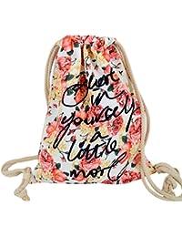 Canvas Flower Print Drawstring Bag Backpack Lightweight Shoulder Bag Sackpack Gym Bag By Amily - B0745G1CK8
