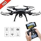 Drone con Cámara 720P HD con WiFi FPV Hover Drone Adjustable Telecontrol Remoto, Altitud Hold, Modo sin Cabeza, 3D Flips, VR Modo, T20 Negro