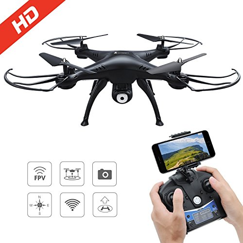 AMZtronics Drone con TeleCámara 720P HD Camera WiFi FPV Hover Drone Cámara Adjustable Telecontrol Remoto, Modo sin Cabeza, 3D Flips
