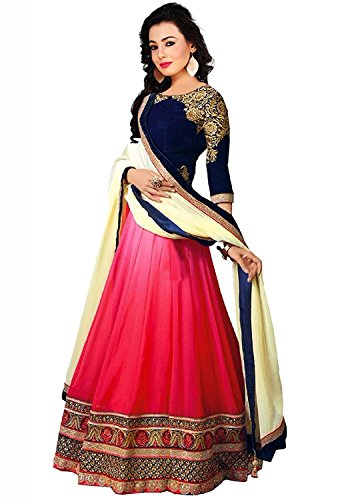 Sky Global Women\'s Georgette Lehenga Choli (SKY_Lehnga_115_Pink & Blue)