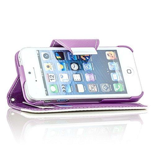 Saxonia Tasche Apple iPhone SE 5 5S Hülle Flip Case Cover Schutzhülle mit Kartenfach Rosa-Weiß Violett