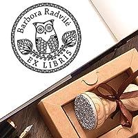Sellos Personalizados, Ex libris Búho Sello de Goma Personalizable Madera, Sello Personalizado Libro Pájaro Sabiduría, Caja de Regalo