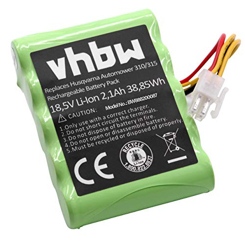 vhbw Akku für Rasenroboter Rasenmäher passend für Gardena R100Li, R130Li, R160Li 2016, R160Li 2017, R160Li 2018, Sileno (2100mAh, 18.5V, Li-Ion)