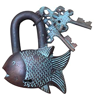 Aakrati Fish Pad Lock In Antique Finish Of Brass Brown