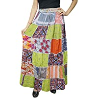 Women Colorful Patchwork Skirt Vintage Gypsy Rayon A-Line Flare Skirts S/M