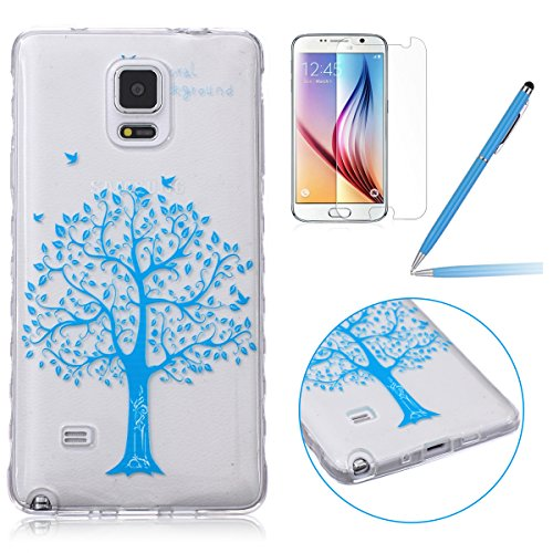 Samsung Note 4 Silicone Housse - Felfy Clair Ultra mince Slim Coque Pour Samsung Galaxy Note 4 papillon blanc Clear Crystal Gel Souple Soft Flexible TPU Silicone Etui Protective Bumper Cas Cover Trans Bleu Cherry