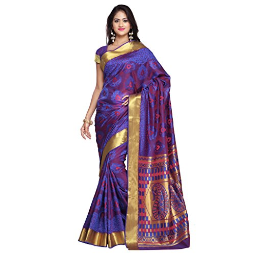 Varkala Silk Sarees Women's Art Silk Kanchipuram Saree With Blouse Piece(JP7105RBRD_Blue_Free Size)