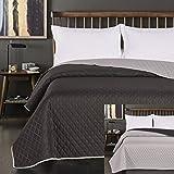 DecoKing 77139 Tagesdecke 170 x 210 schwarz stahl silber anthrazit grau Bettüberwurf zweiseitig Steppung black silver Axel