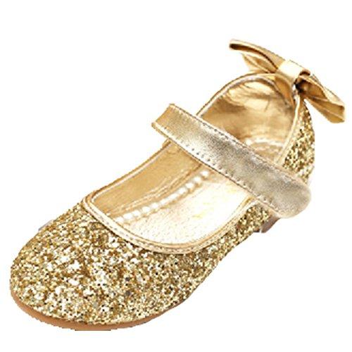 Ohmais Enfants Filles Chaussure cérémonie Ballerines à bride Fête Demoiselle d'honneur Mariage Escarpin plat Babies Or